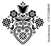 scandinavian retro folk art...   Shutterstock .eps vector #1747238849