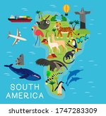 cartoon map of south america.... | Shutterstock . vector #1747283309