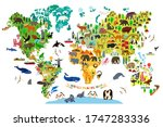 animal map of the world for... | Shutterstock . vector #1747283336