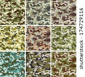 set of seamless camouflage... | Shutterstock . vector #174729116