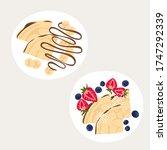 sweet classic breakfast with...   Shutterstock .eps vector #1747292339