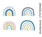 set of cute rainbows. vector...   Shutterstock .eps vector #1747303460