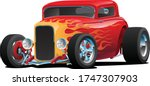 classic red custom street rod... | Shutterstock .eps vector #1747307903