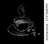 coffee cup sketch drawing.... | Shutterstock .eps vector #1747308593