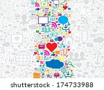 seamless pattern with social... | Shutterstock .eps vector #174733988