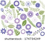 flowers and foliage   purple | Shutterstock .eps vector #174734249