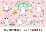 Cute Unicorn Cats Flat Icon Se...