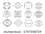 vintage ornament frames set.... | Shutterstock .eps vector #1747358729