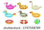 Swimming Rings Flat Icon Set....