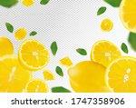 set of fresh lemon with green... | Shutterstock .eps vector #1747358906
