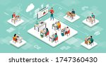 students in the virtual... | Shutterstock .eps vector #1747360430