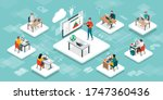 students in the virtual... | Shutterstock .eps vector #1747360436
