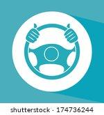 steering wheel over background... | Shutterstock .eps vector #174736244