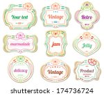 floral labels   cosmetic... | Shutterstock .eps vector #174736724