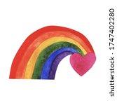watercolor lgbt heart the... | Shutterstock . vector #1747402280