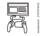 hands using desktop line style... | Shutterstock .eps vector #1747473413