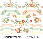 peach flowers and ribbons | Shutterstock .eps vector #174747416