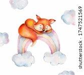 Cute Cartoon Little Fox On The...
