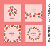 strawberry cards set  vector... | Shutterstock .eps vector #1747536230
