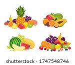 Fruit Pile Set. Vector...