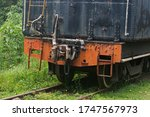 Back View Of Old Train On An...