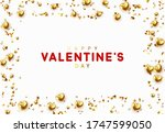background with gold hearts and ... | Shutterstock .eps vector #1747599050
