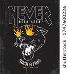 heavy metal fire printing... | Shutterstock .eps vector #1747600226