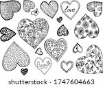 hearts love black and white...   Shutterstock .eps vector #1747604663