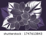 hand drawn lily flower with... | Shutterstock .eps vector #1747613843