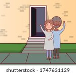 couple of woman and man in...   Shutterstock .eps vector #1747631129
