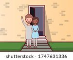 couple of woman and man in...   Shutterstock .eps vector #1747631336