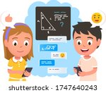 girl   boy kids chat online... | Shutterstock .eps vector #1747640243