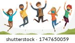 man and woman are jumping... | Shutterstock .eps vector #1747650059