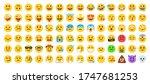 flat yellow emoji collection.... | Shutterstock .eps vector #1747681253
