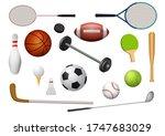 sport equipment icon set.... | Shutterstock .eps vector #1747683029