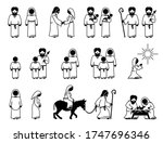 virgin mary  saint joseph  and... | Shutterstock .eps vector #1747696346