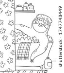 Coloring Page With Cute Sloth...