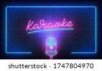 karaoke neon sign billboard.... | Shutterstock .eps vector #1747804970