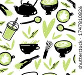 seamless pattern with matcha...   Shutterstock .eps vector #1747810826
