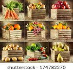 Collage Of Various Fruits And...