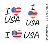 I Love Usa. Hand Lettering Wit...