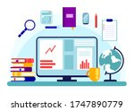 graphs and charts on a computer ...   Shutterstock .eps vector #1747890779