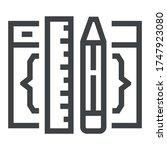 programming black line icons on ... | Shutterstock .eps vector #1747923080
