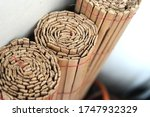 Small photo of Bunch of bamboo curtain in roll