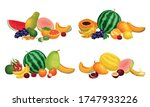exotic fruits composition with... | Shutterstock .eps vector #1747933226