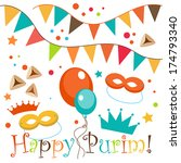 jewish holiday purim set.... | Shutterstock .eps vector #174793340