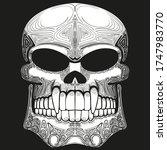 black and white drawing. skull... | Shutterstock .eps vector #1747983770
