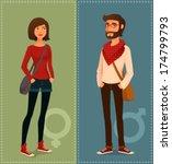 cartoon illustration of young... | Shutterstock .eps vector #174799793