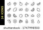 fruit icon set  vector lines ...   Shutterstock .eps vector #1747998503