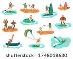 sea outdoor activities. water... | Shutterstock .eps vector #1748018630